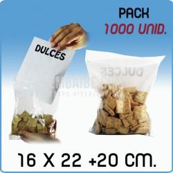 1000 Bolsas autocierre bolsillo canguro 16x22+20 cm