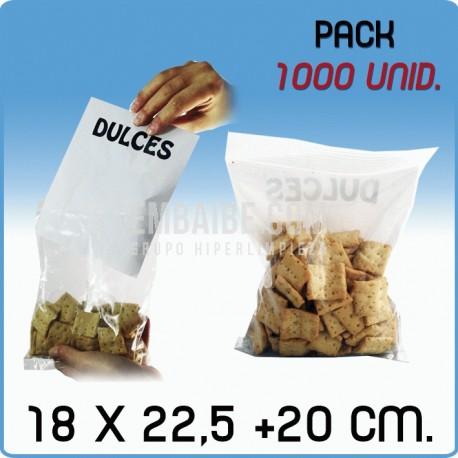 1000 Bolsas autocierre bolsillo canguro 18x22,5+20 cm