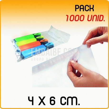 1000 Bolsas polipropileno con solapa adhesiva 4x6 cm