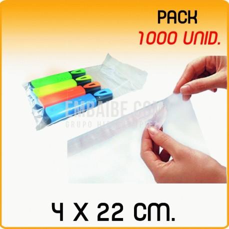 1000 Bolsas polipropileno con solapa adhesiva 4x22 cm
