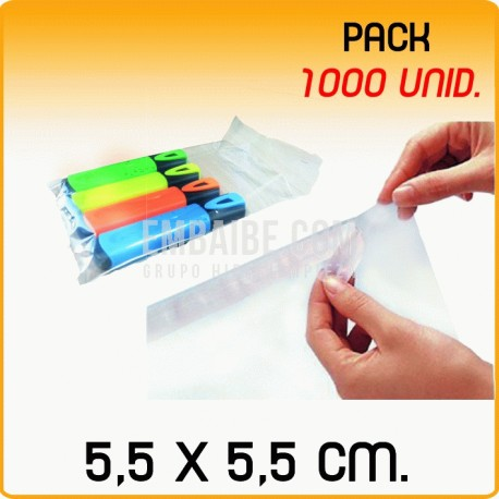1000 Bolsas polipropileno con solapa adhesiva 5,5x5,5 cm