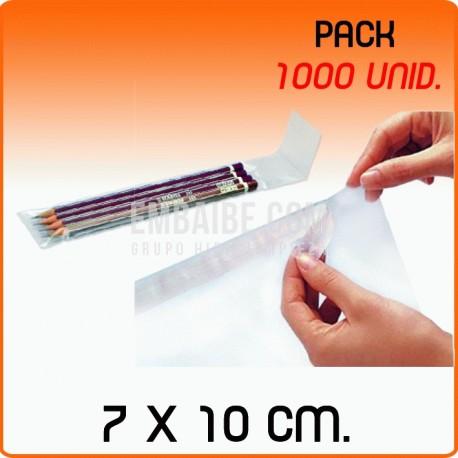 1000 Bolsas de polipropileno con solapa adhesiva 7x10 cm
