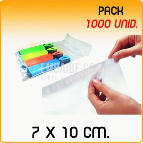 1000 Bolsas polipropileno con solapa adhesiva 7x10 cm