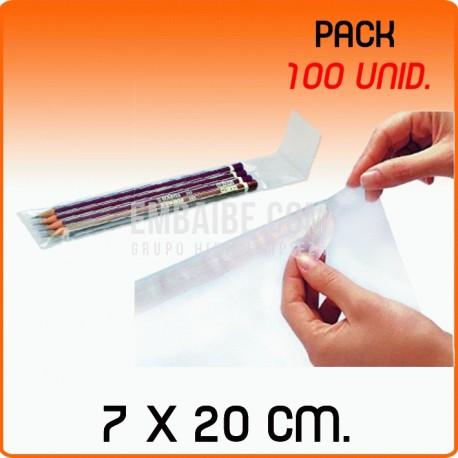 100 Bolsas de polipropileno con solapa adhesiva 7x20 cm