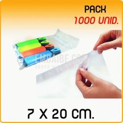 1000 Bolsas polipropileno con solapa adhesiva 7x20 cm