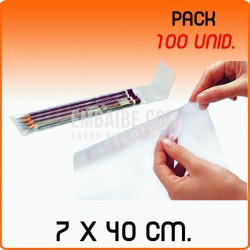 100 Bolsas de polipropileno con solapa adhesiva 7x40 cm