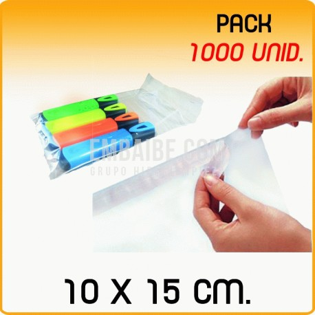 1000 Bolsas polipropileno con solapa adhesiva 10x15 cm