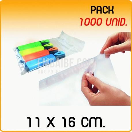 1000 Bolsas polipropileno con solapa adhesiva 11x16 cm