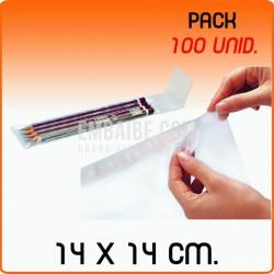 100 Bolsas de polipropileno con solapa adhesiva 14x14 cm