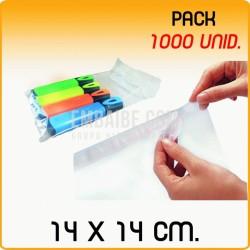 1000 Bolsas polipropileno con solapa adhesiva 14x14 cm