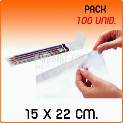 100 Bolsas de polipropileno con solapa adhesiva 15x22 cm