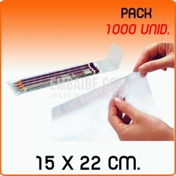 1000 Bolsas de polipropileno con solapa adhesiva 15x22 cm