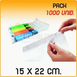 1000 Bolsas polipropileno con solapa adhesiva 15x22 cm