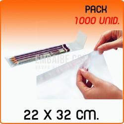 1000 Bolsas de polipropileno con solapa adhesiva 22x32 cm