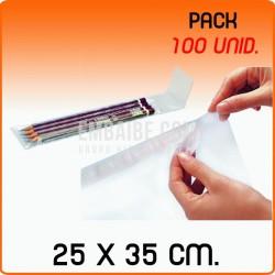 100 Bolsas de polipropileno con solapa adhesiva 25x35 cm
