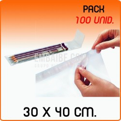 100 Bolsas de polipropileno con solapa adhesiva 30x40 cm