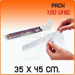 100 Bolsas de polipropileno con solapa adhesiva 35x45 cm
