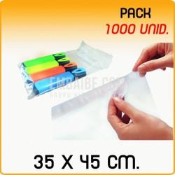 1000 Bolsas polipropileno con solapa adhesiva 35x45 cm