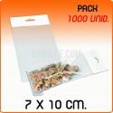 1000 Sacos PP com pala adesiva e euro furo 7x10 cm