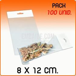 100 Bolsas PP solapa adhesiva y eurotaladro 8x12 cm