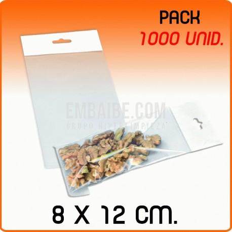 1000 Bolsas PP solapa adhesiva y eurotaladro 8x12 cm