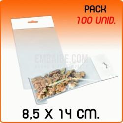 100 Bolsas PP solapa adhesiva y eurotaladro 8,5x14 cm
