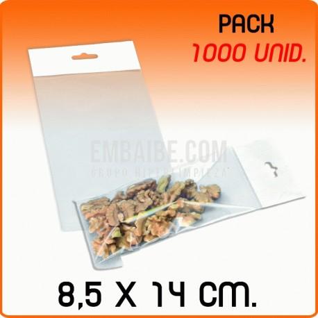 1000 Bolsas PP solapa adhesiva y eurotaladro 8,5x14 cm