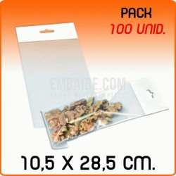 100 Bolsas PP solapa adhesiva y eurotaladro 10,5x28,5 cm
