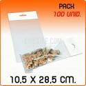 100 Sacos PP com pala adesiva e euro furo 10,5x28,5 cm
