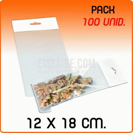 100 Bolsas PP solapa adhesiva y eurotaladro 12x18 cm