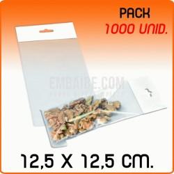 1000 Bolsas PP solapa adhesiva y eurotaladro 12,5x12,5 cm