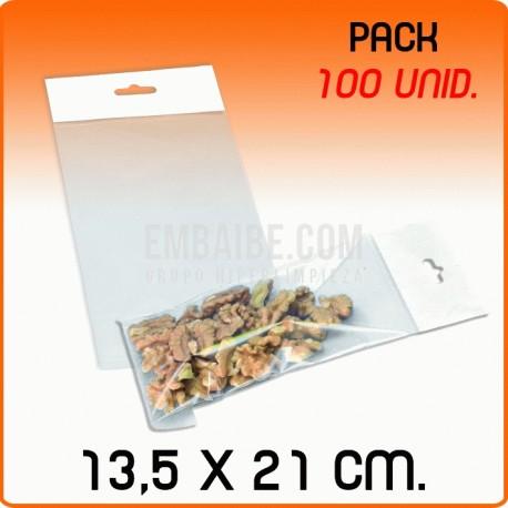 100 Bolsas PP solapa adhesiva y eurotaladro 13,5x21 cm