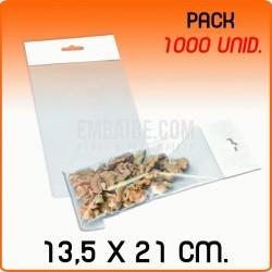 1000 Bolsas PP solapa adhesiva y eurotaladro 13,5x21 cm