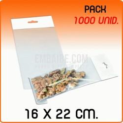 1000 Bolsas PP solapa adhesiva y eurotaladro 16x22 cm