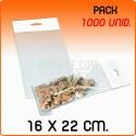 1000 Sacos PP com pala adesiva e euro furo 16x22 cm