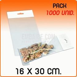 1000 Bolsas PP solapa adhesiva y eurotaladro 16x30 cm