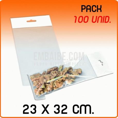 100 Bolsas PP solapa adhesiva y eurotaladro 23x32 cm
