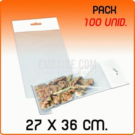 100 Bolsas PP solapa adhesiva y eurotaladro 27x36 cm