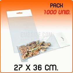 1000 Bolsas PP solapa adhesiva y eurotaladro 27x36 cm