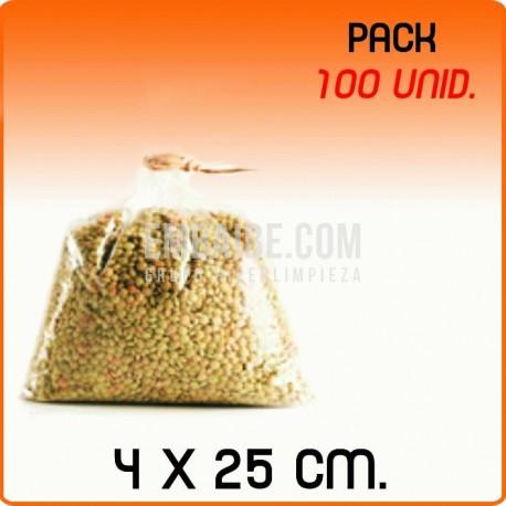 100 Bolsas polipropileno sin cierre 4x25cm
