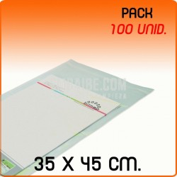 100 Bolsas Polipropileno CPP solapa adhesiva 35x45 cm