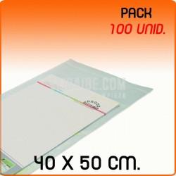 100 Bolsas Polipropileno CPP solapa adhesiva 40x50 cm