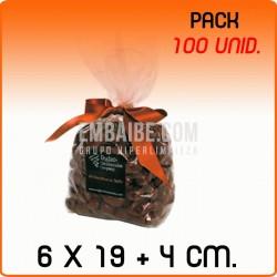 100 Bolsas polipropileno con fondo cuadrado 6x19+4cm