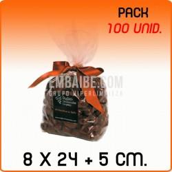 100 Sacos polipropileno com fundo quadrado 8x24+5 cm