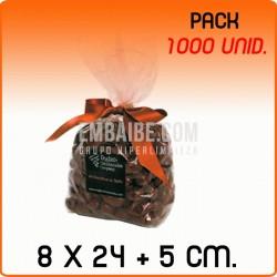 1000 Bolsas polipropileno con fondo cuadrado 8x24+5cm