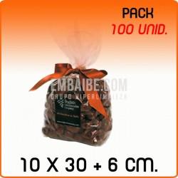 100 Bolsas polipropileno con fondo cuadrado 10x30+6cm