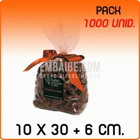 1000 Bolsas polipropileno con fondo cuadrado 10x30+6cm