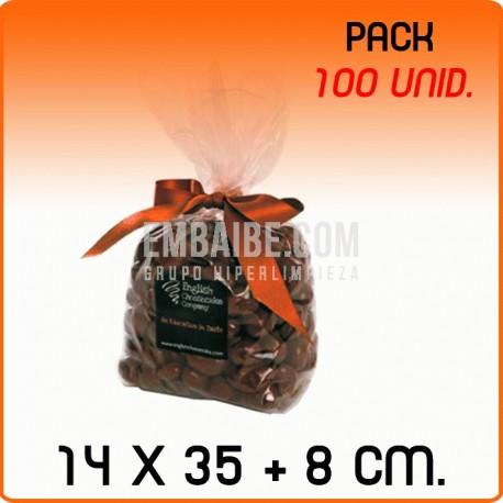 100 Bolsas polipropileno con fondo cuadrado 14x35+8cm