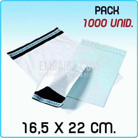 1000 Bolsas para mensajería anónima 16,5x22 cm