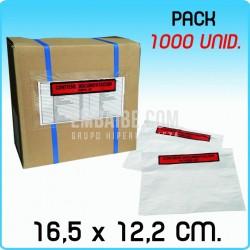 250 Sobres portadocumentos Impr. 16,5x12,2cm